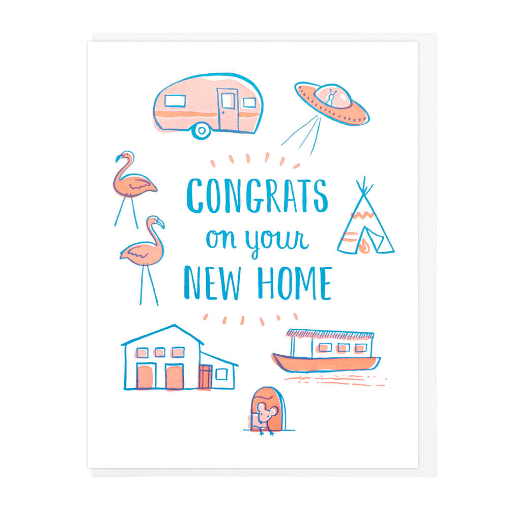 Congrats on Your New Home Letterpress greeting card moving motifs