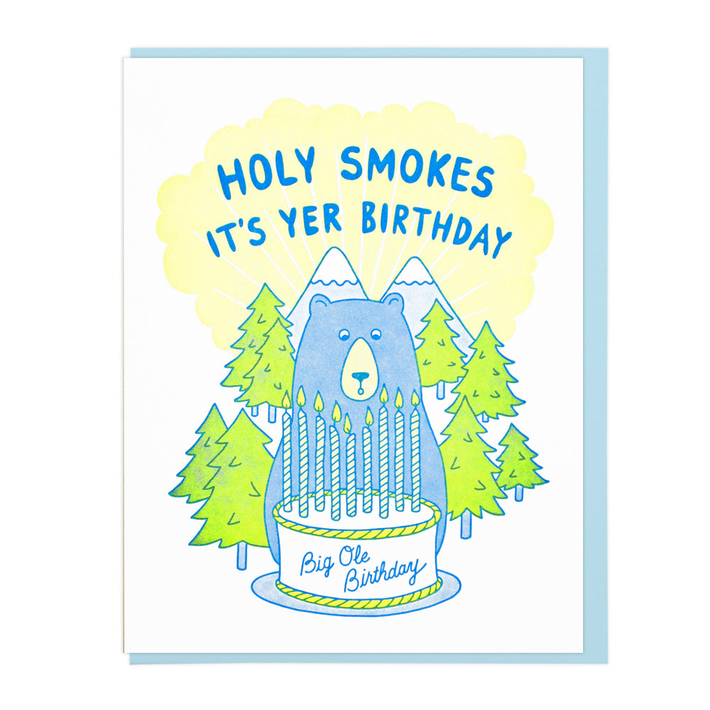 Holy Smokes Birthday Bear Card