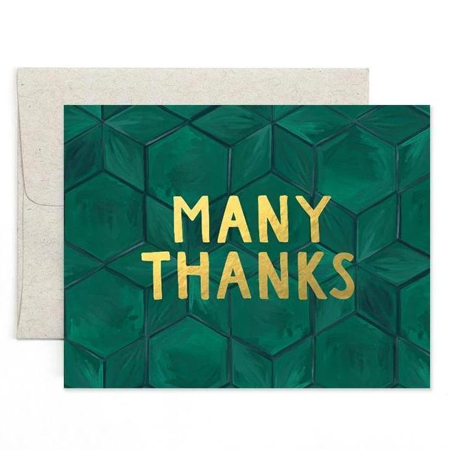 Green Tile Thank You Cards Box (Set of 8)