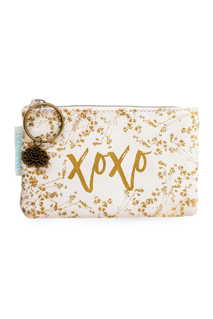 White Gilded Flowers Coin Purse