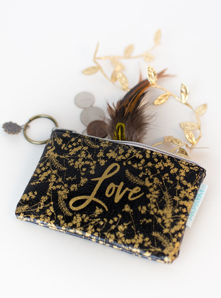 Black Gilded Flowers Coin Purse