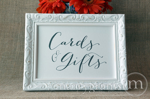 Cards & Gifts Wedding Reception Sign Handwritten Style