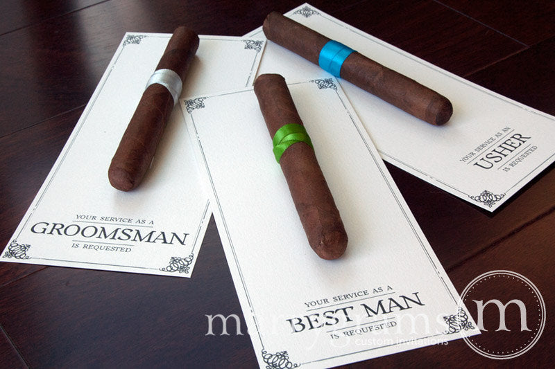 Your Service is Requested Be My Groomsman Cigar Card