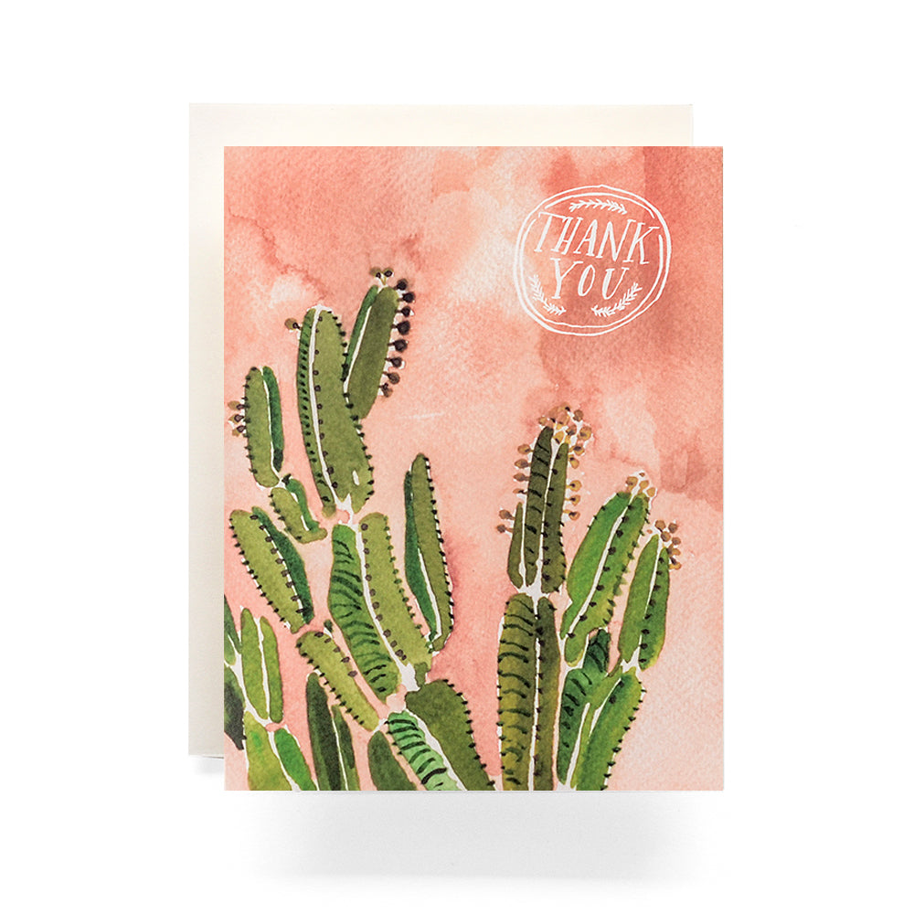 Coral Cactus watercolor Thank You Card