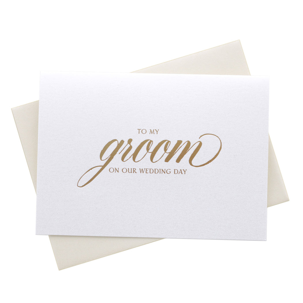 Gold Foil Groom on Our Wedding Day Card