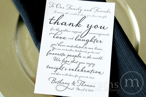 Custom Reception Thank You Card Diagonal Style