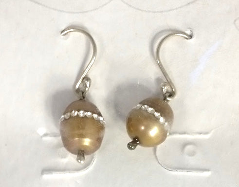 Tan Pearl & Swarovski Earrings
