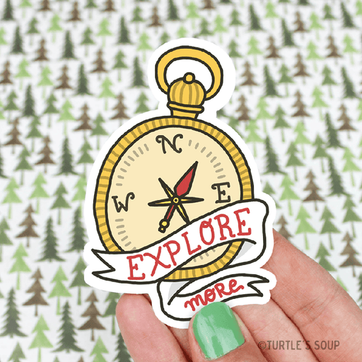 Explore More Compass Vinyl Sticker