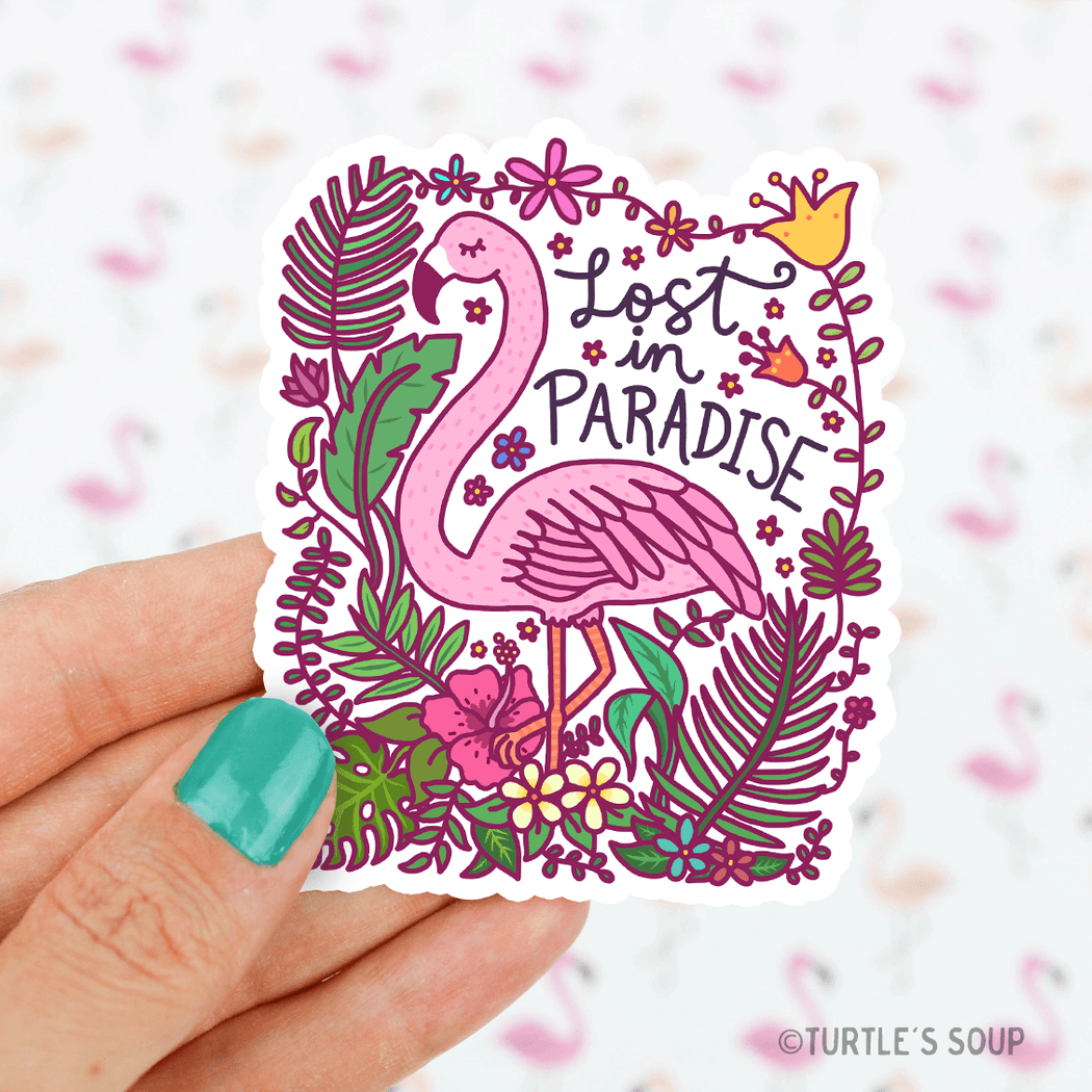 Lost in Paradise Flamingo Vinyl Sticker