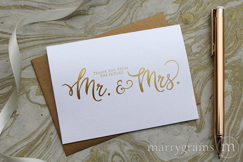 Gold Foil Future Mr. & Mrs. Thank You Cards