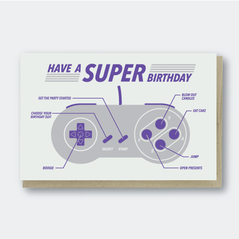 Super Nintendo Birthday Card
