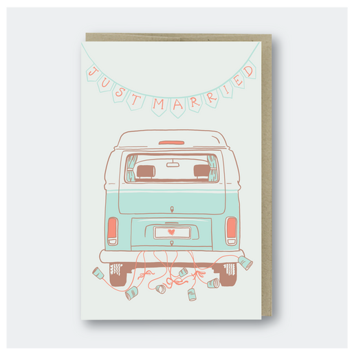 Just Married Camper Van Card