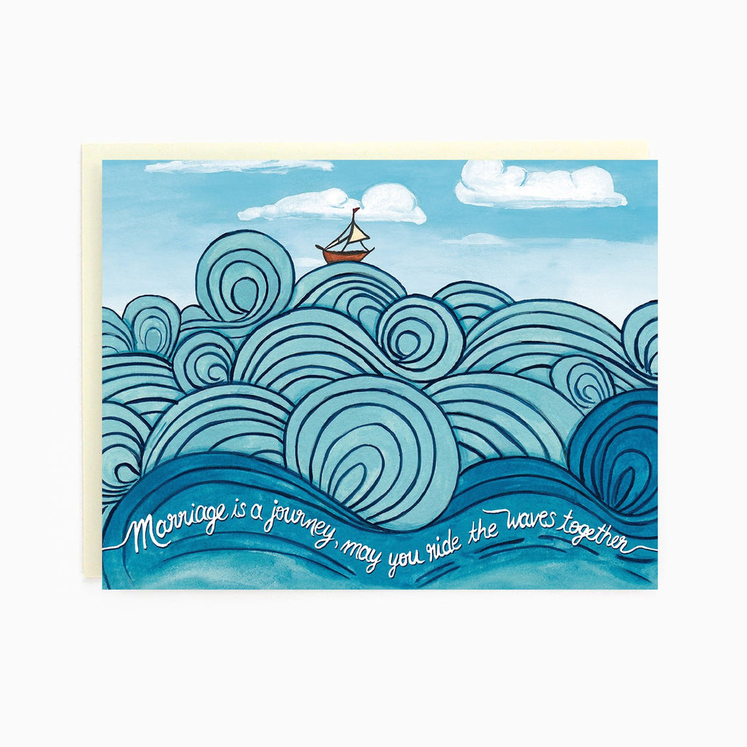 Marriage is a journey, may you ride the ways together Wedding Waves Card