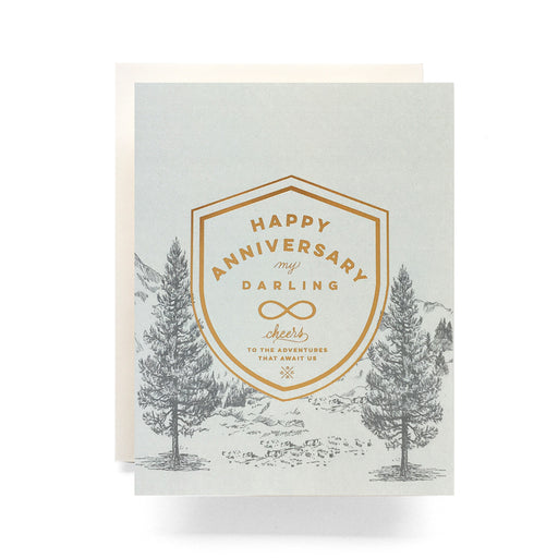 Happy Anniversary my Darling cheers to the adventures that await us crest forest compass anniversary Card