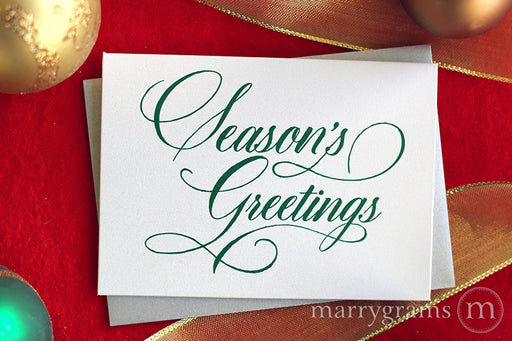 Season's Greetings Holiday Card Calligraphy Style