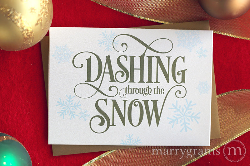 Dashing Through the Snow marrygrams wedding holiday card christmas