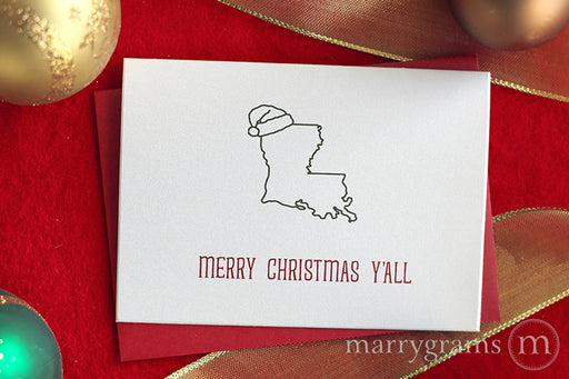 Louisiana Merry Christmas Y'all Card