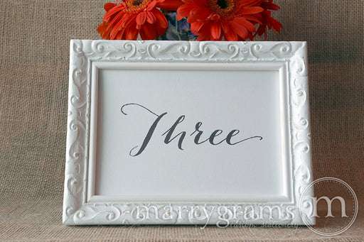Wedding Table Number Signs Handwritten Style