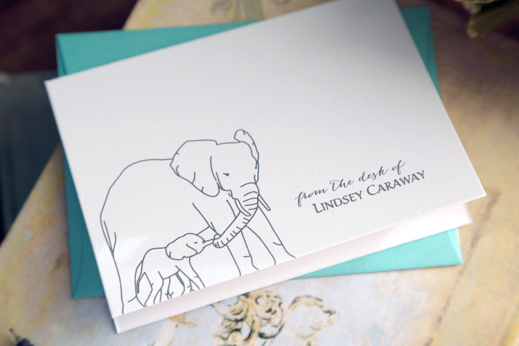 Custom Elephant Thank You Note Cards