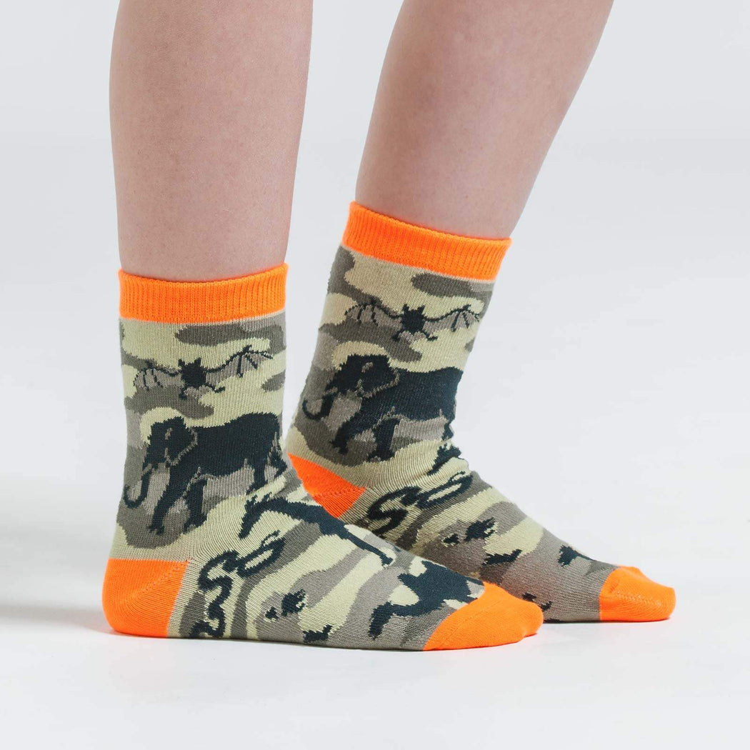 Animal Camo Junior's Crew Socks