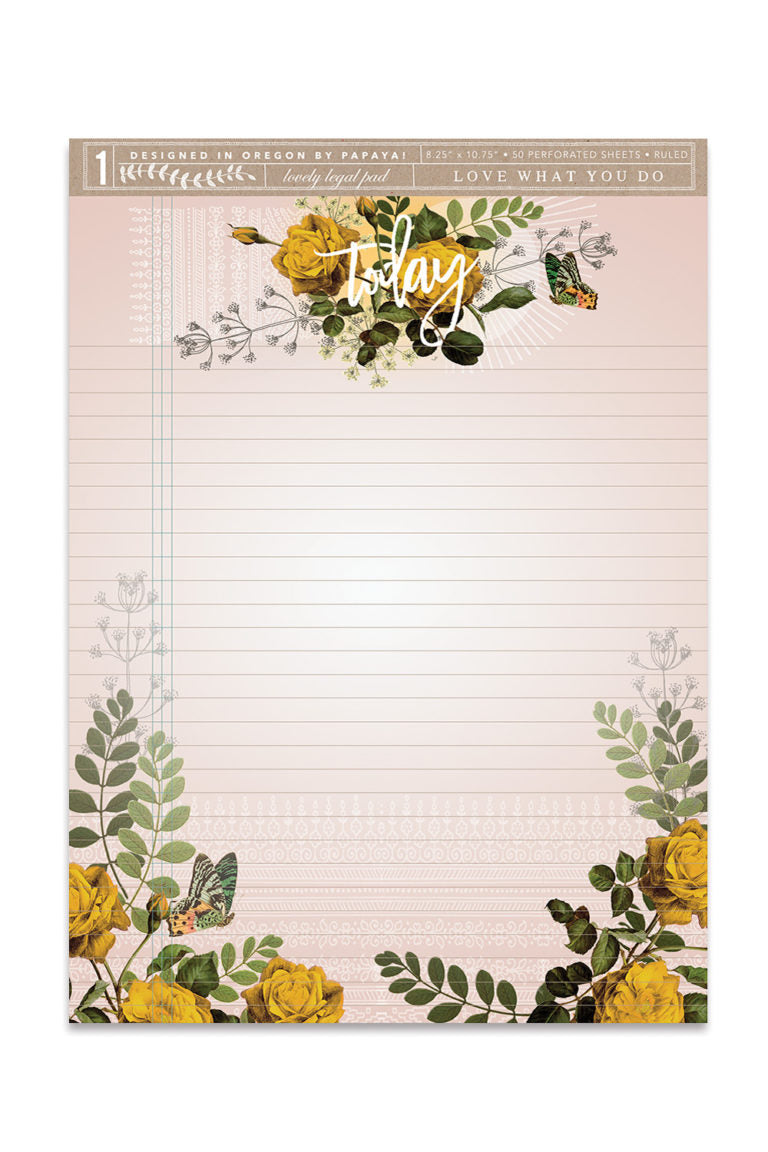 Today Yellow Roses Legal Notepad