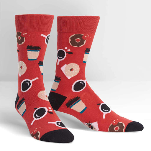 Coffee Break coffee and donuts red Men's Crew Socks