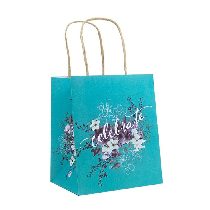 Celebrate Mini Gift Bag teal with flowers