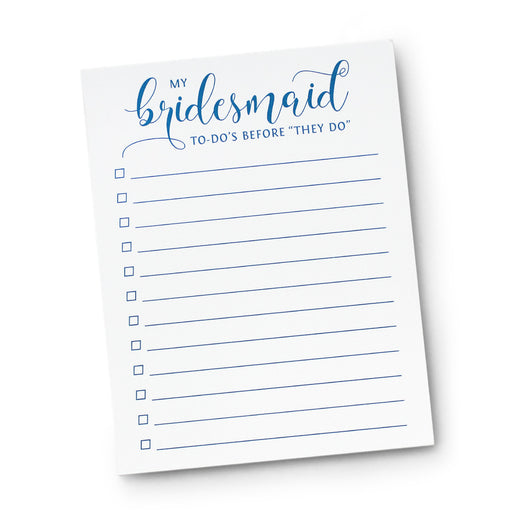 My Bridesmaid To-Do's Notepad Bridal Party Planner Pad
