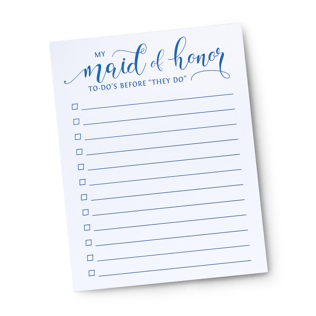 My Maid of Honor To Do's Before I Do Notepad