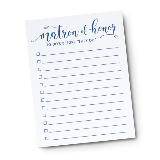 My Matron of Honor To Do's Before I Do Notepad