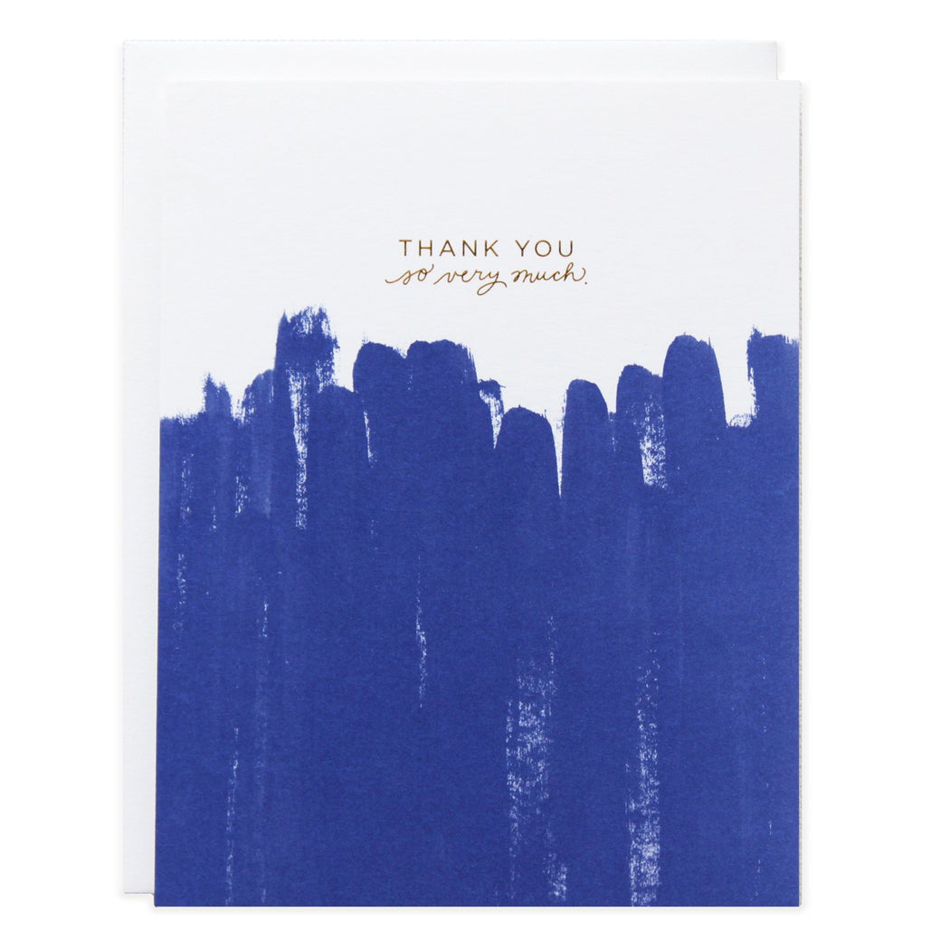 Thank You Blue Brush Strokes Card