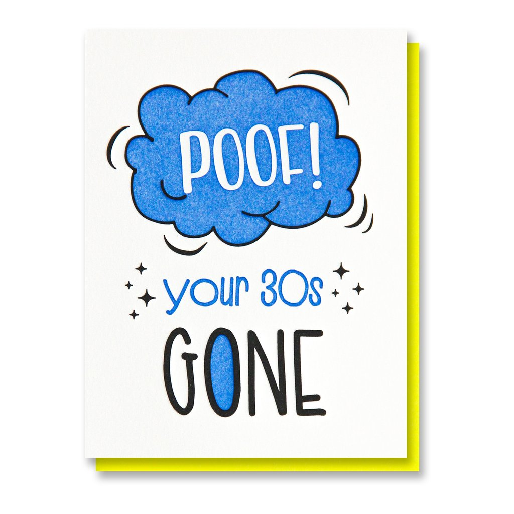 Poof Your 30's Gone Birthday Card