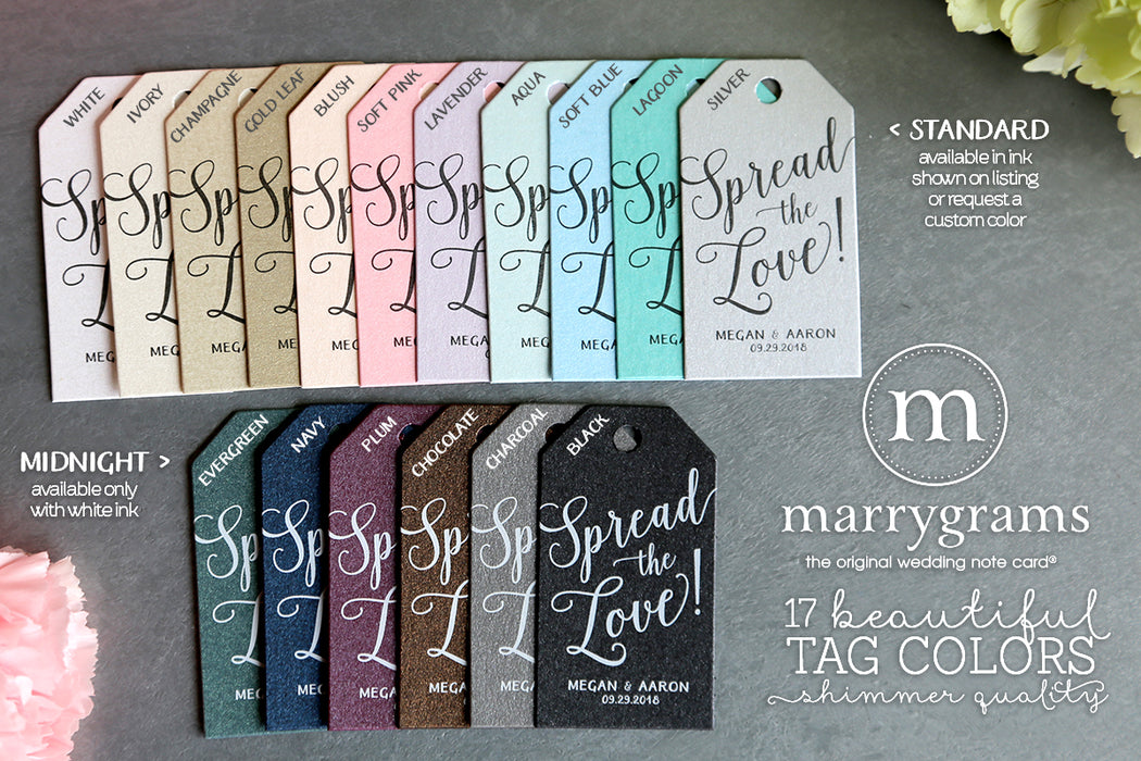 Wedding Favor Tag Color Options by Marrygrams
