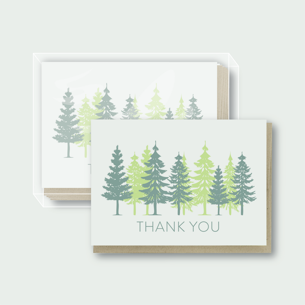 Pine Trees Thank You - Box Set of 6