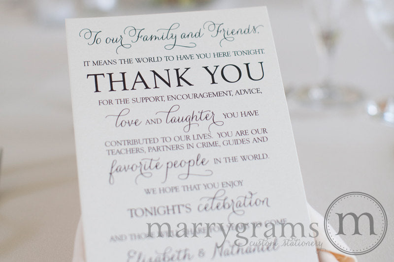 Reception Thank You Cards Personalized Seating Cards For Wedding