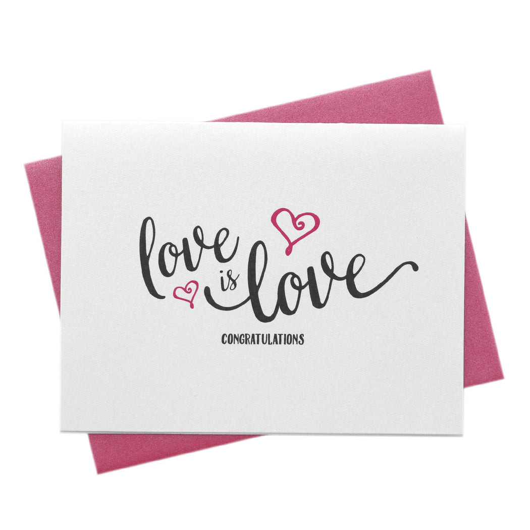 Love is Love Engagement Wedding Wishes Card