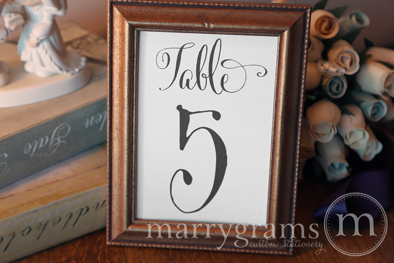 Numerical Wedding Table Number Signs Whimsical Style