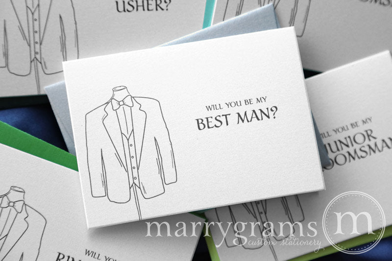 Will You Be My Groomsman Proposal Card Tuxedo Design