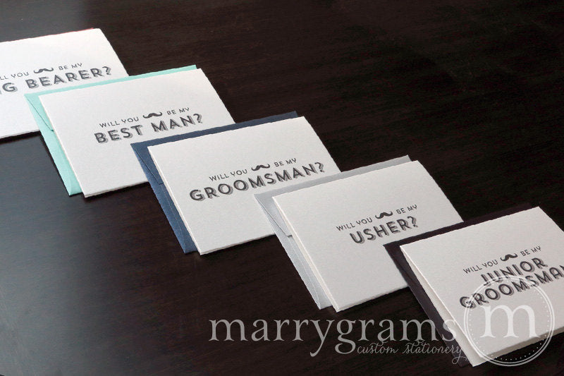 Will You Be My Groomsman Card Mustache Design
