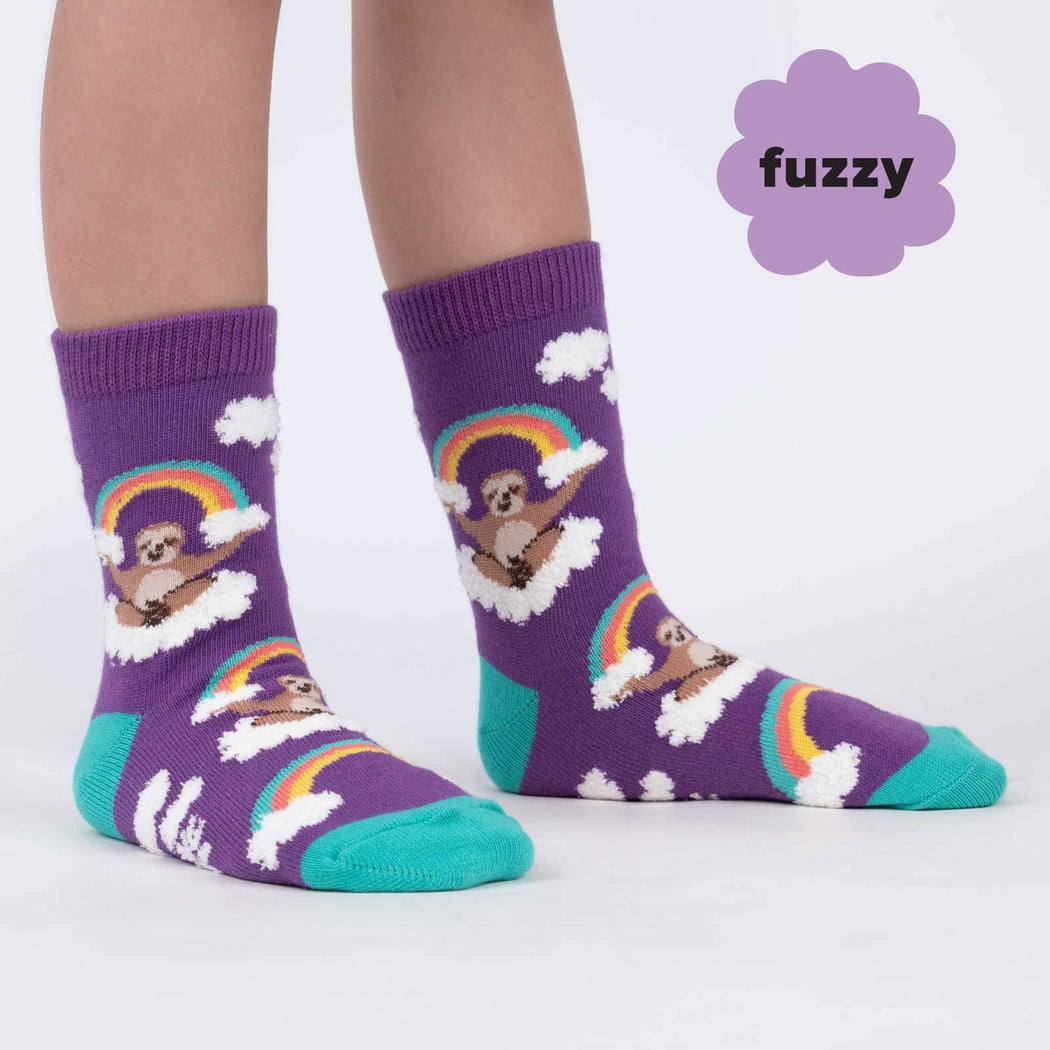 Sloth Dreams Fuzzy Junior's Crew Socks