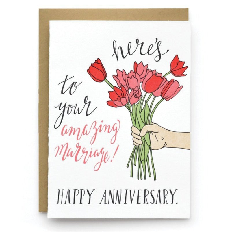 Amazing Marriage Bouquet Letterpress Greeting Card