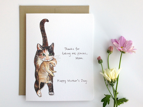 Cat Mom Mother's Day Card - Thanks for taking me places, mom