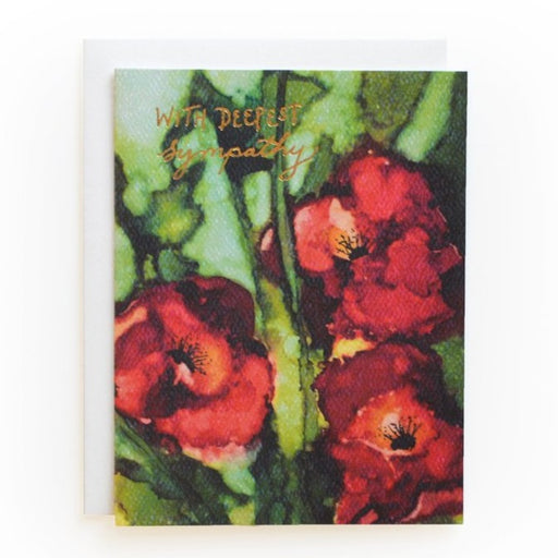 with Deepest Sympathy floral poppies letterpress  Card