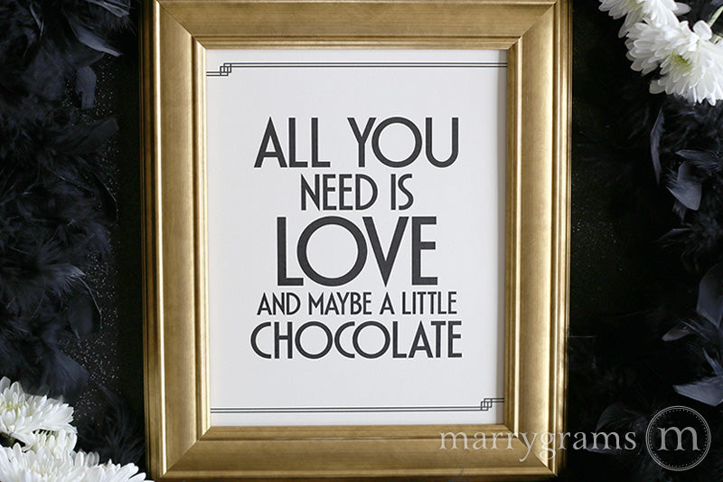 All You Need Is Love Candy Buffet Sign Deco Style Great Gatsby Wedding