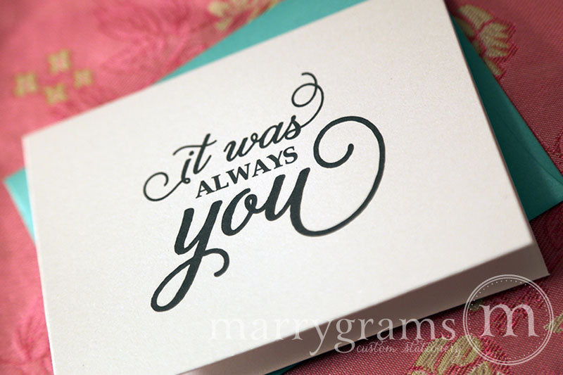 It Was Always You Bride Groom Love Note Card Curly Style