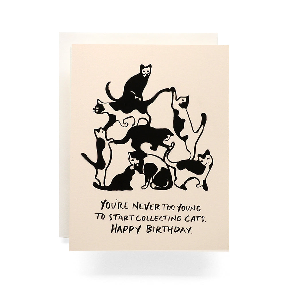 Cat Tower Birthday Greeting Card - you're never too young to start collecting cats