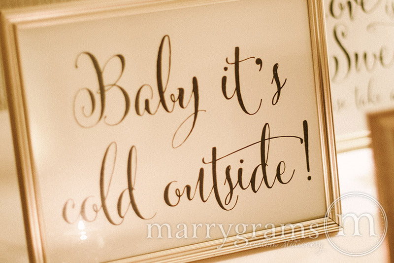Baby It's Cold Outside Wedding Sign Whimsical Style