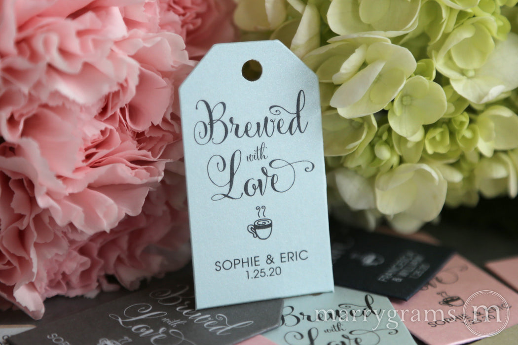 Brewed with Love Favor Tags Whimsical Style