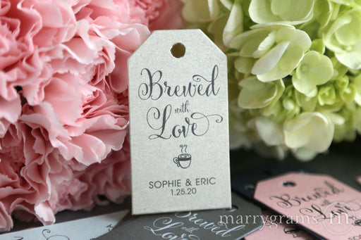 Brewed with Love Favor Tags Whimsical Style - fun wedding favor tags coffee cup