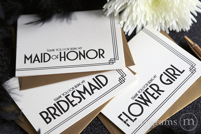 Thank You For Being My Bridesmaid Card Deco Style